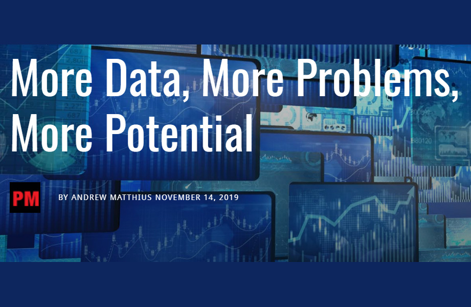 Title header: More data, more problems, more potential